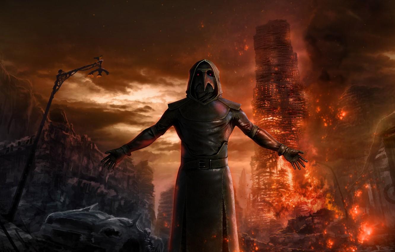 Wallpaper fire, Apocalypse, mystic, The plague doctor ...