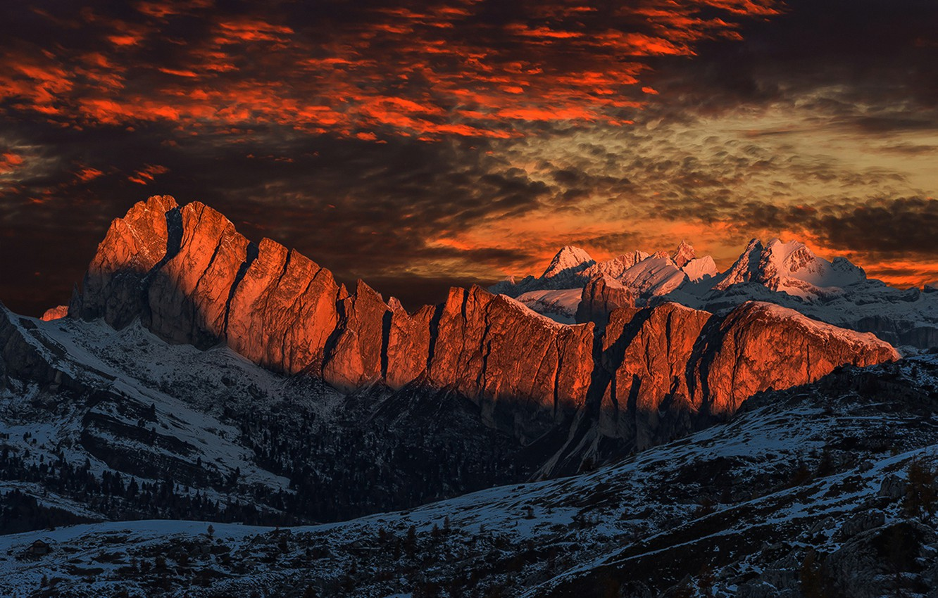 Photo wallpaper Light, Clouds, Sky, Fire, Glow, Snow, Sunrise, Morning, Travel, Berge, Schnee, Dolomites, Morgenrot