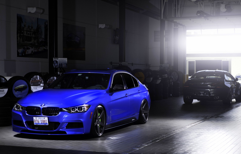 Photo wallpaper blue, BMW, BMW, wheels, blue, 335i, vossen, The 3 series, f30, frontside