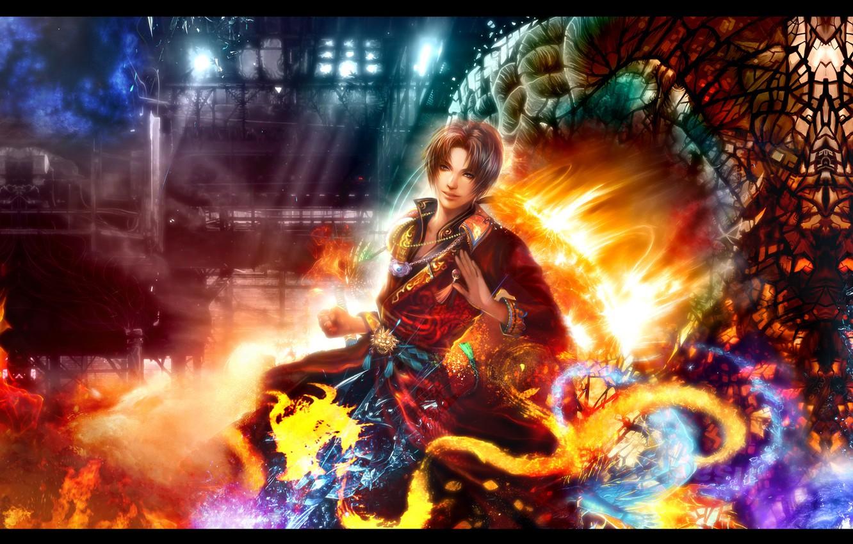 Photo wallpaper fire, anime, art, guy