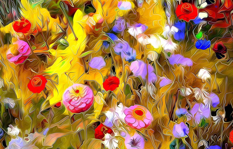 Photo wallpaper line, flowers, rendering, paint, garden, meadow, touch