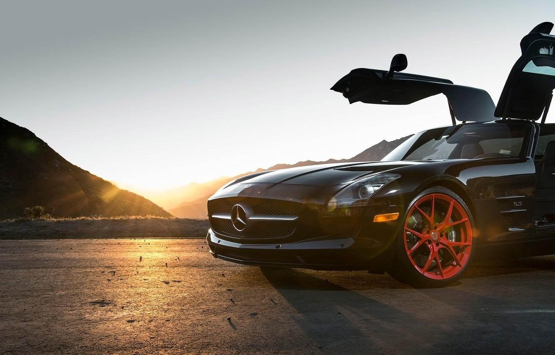 Photo wallpaper Mercedes-Benz, black, SLS, Classes
