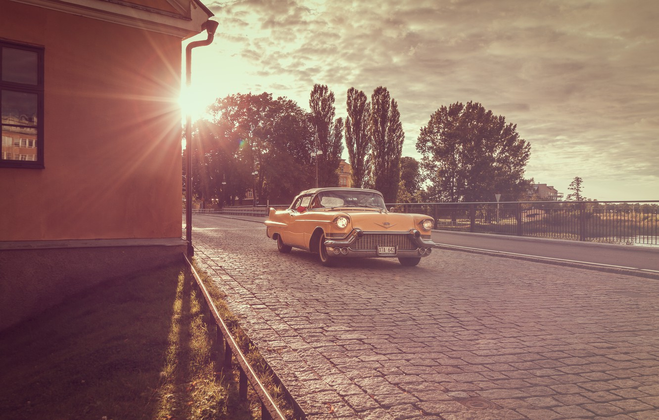 Photo wallpaper Cadillac, yellow, sunset, 1956, Coupe DeVille