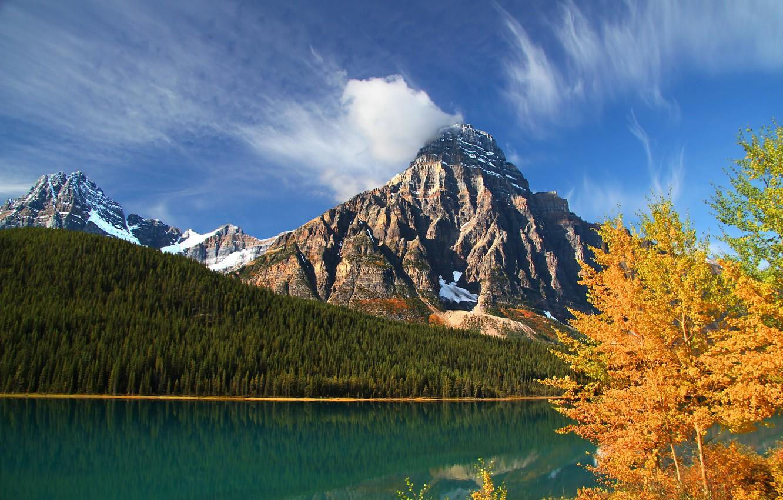 Photo wallpaper autumn, forest, trees, mountains, lake, Canada, Albert, Banff National Park, Alberta, Canada, Banff, Howse Peak, …