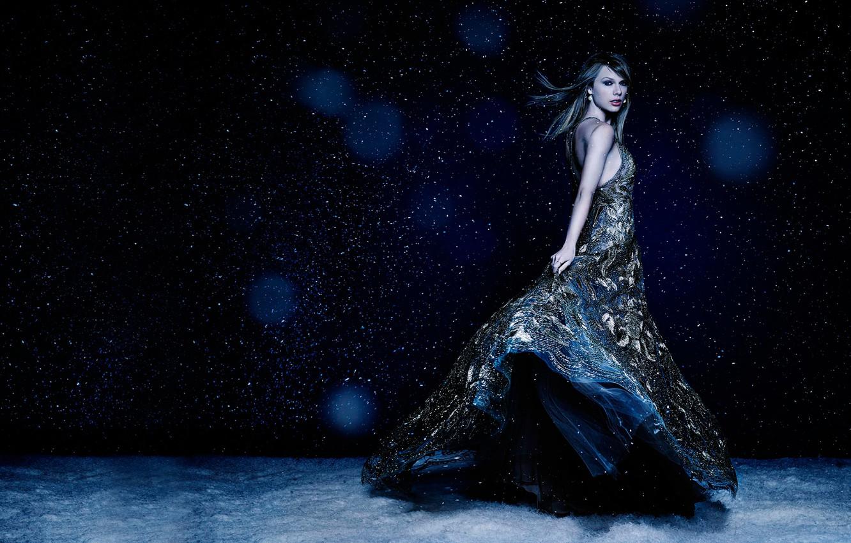 Photo wallpaper snow, dress, Taylor Swift, Taylor Swift, Cosmopolitan