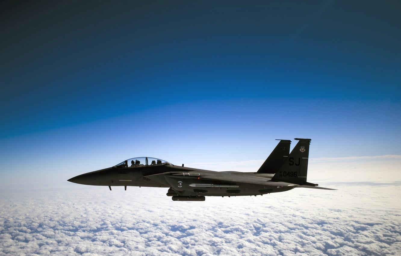 Photo wallpaper Clouds, Sky, Horizon, F-15E Strike Eagle, Pilot, U.S. Air Force, Co-Pilot