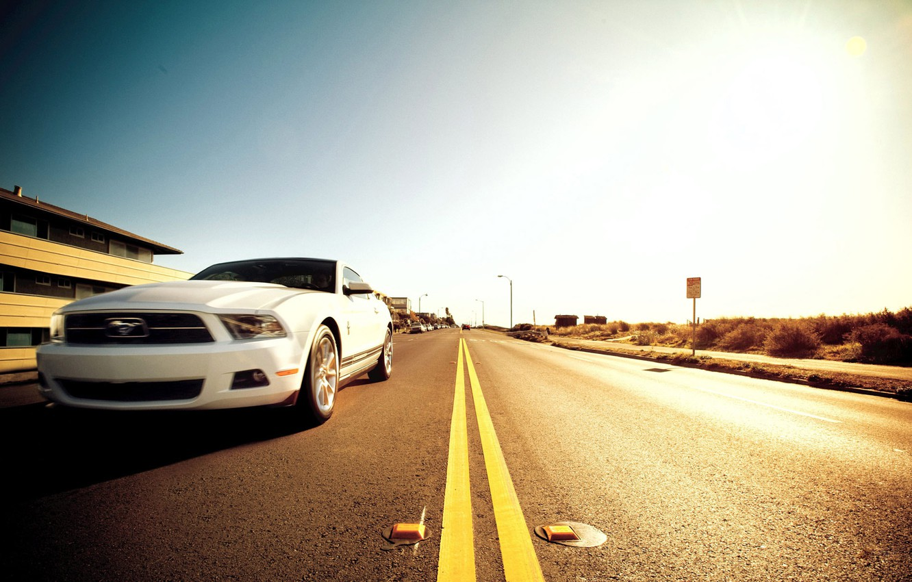 Photo wallpaper road, mustang, ford, muscle car, 5.0