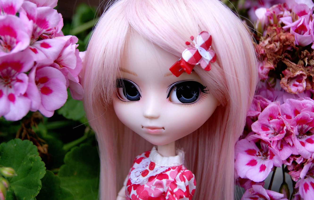 Photo wallpaper flowers, toy, doll, barrette, pink hair