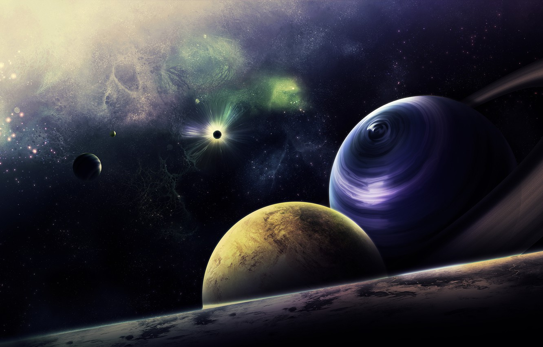 Photo wallpaper space, stars, nebula, planet, ring, art