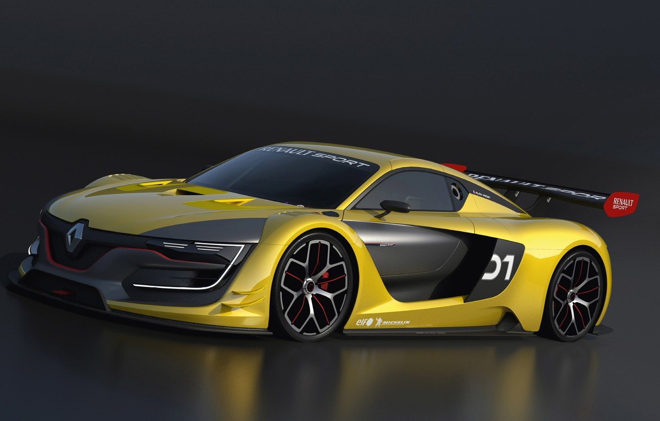 Photo wallpaper yellow, supercar, the dark background, Renault sport RS 01