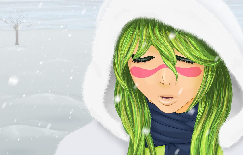 Photo wallpaper winter, girl, snow, mood, Bleach