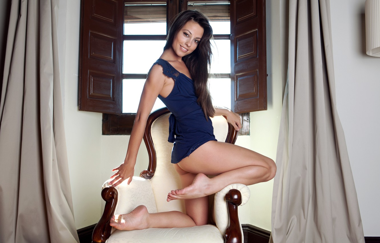 Photo wallpaper ass, girl, smile, chair, dress, brunette, window, legs, Lorena Garcia, Lorena Morena