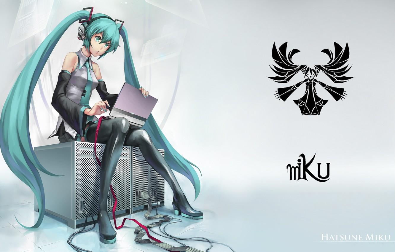 Photo wallpaper girl, laptop, vocaloid, hatsune miku, sitting, long hair, Vocaloid, art, Hatsune Miku