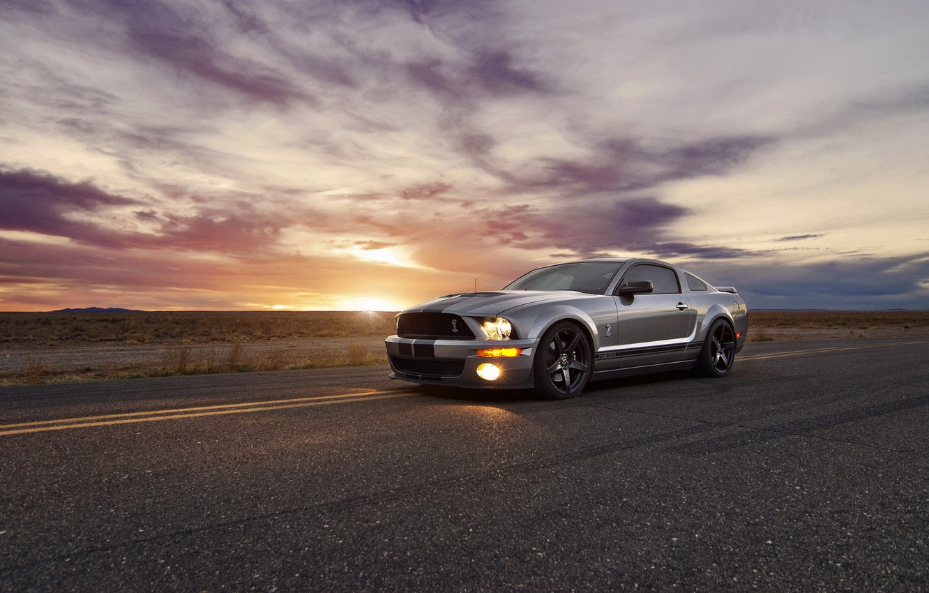 Photo wallpaper sunset, Mustang, Ford, ford mustang, muscle car, rechange
