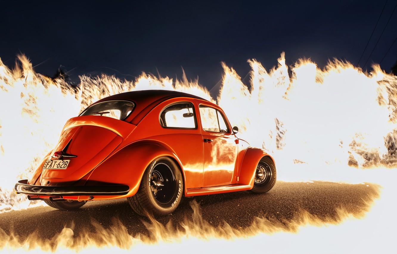 Photo wallpaper fire, flame, Volkswagen, orange, Beetle