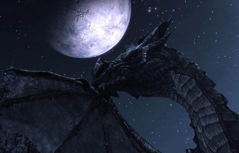 Photo wallpaper night, the moon, dragon, Skyrim, The Elder Scrolls V Skyrim