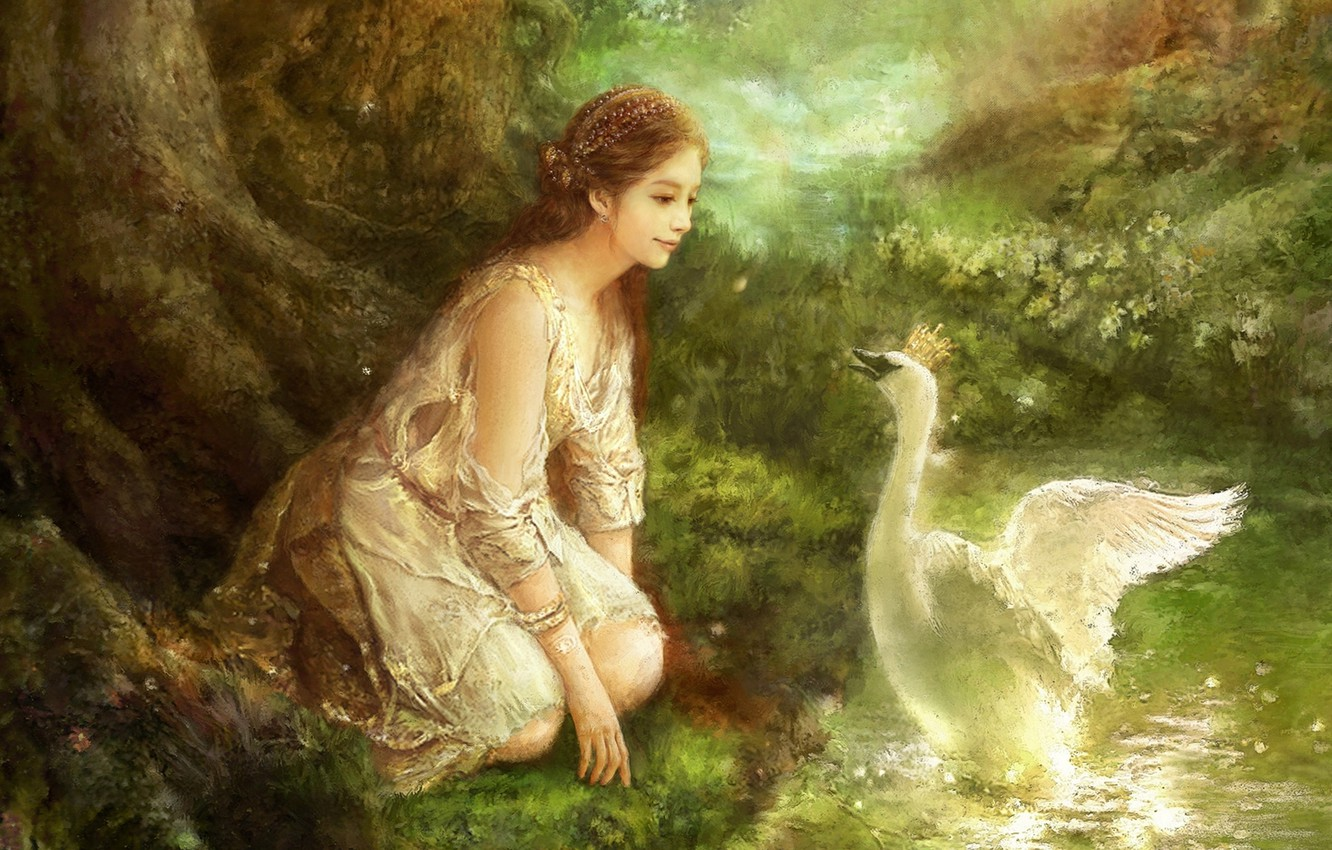 Photo wallpaper forest, flowers, stream, oil, picture, crown, fantasy, art, Swan, fantasy, forest, swan, Princess, canvas, South …