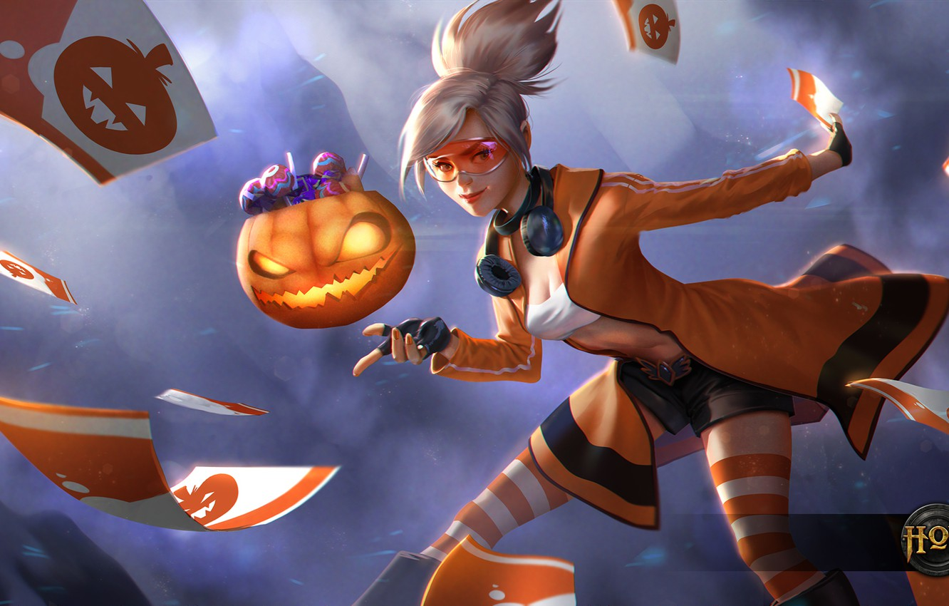 Photo wallpaper card, girl, glasses, blonde, pumpkin, Heroes of Newerth, Tarot, Trick-or-Treat