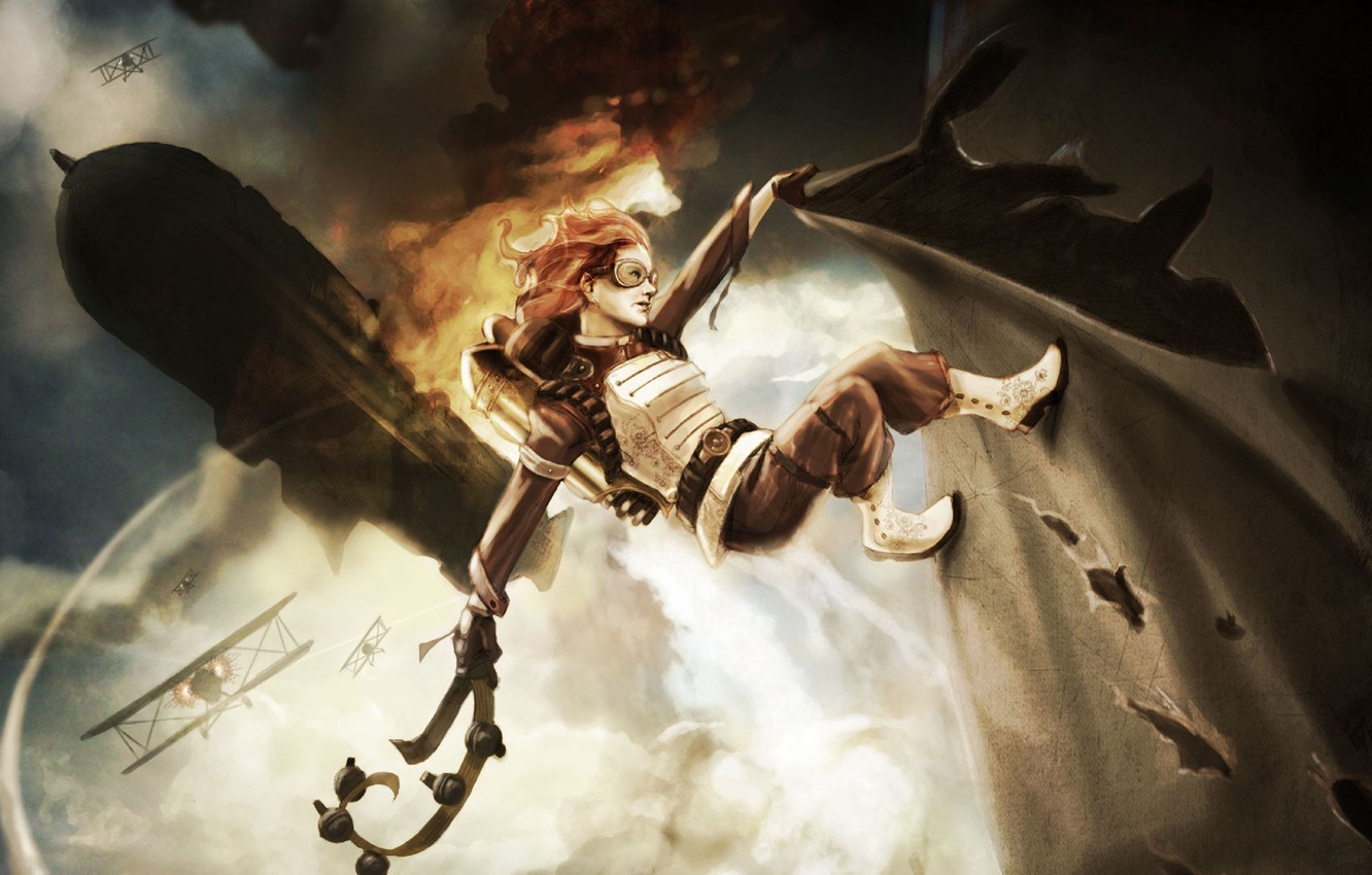 Photo wallpaper girl, the plane, fire, art, the airship, belt, battle, in the sky