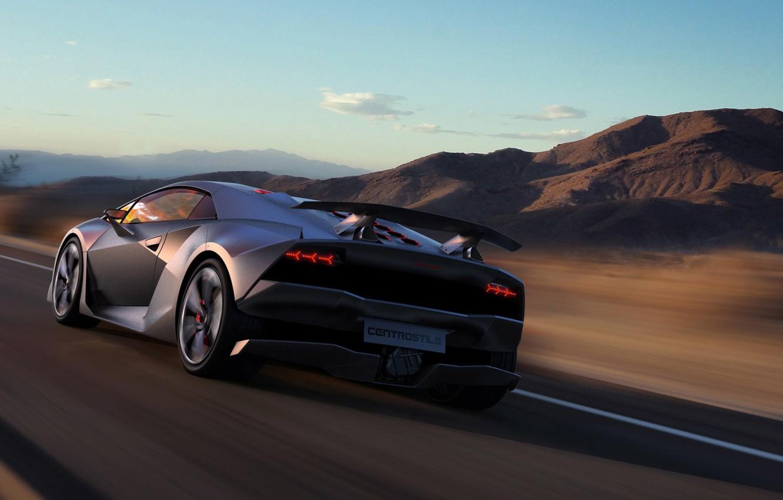 Photo wallpaper road, hills, speed, Lamborghini, spoiler, Sesto Elemento