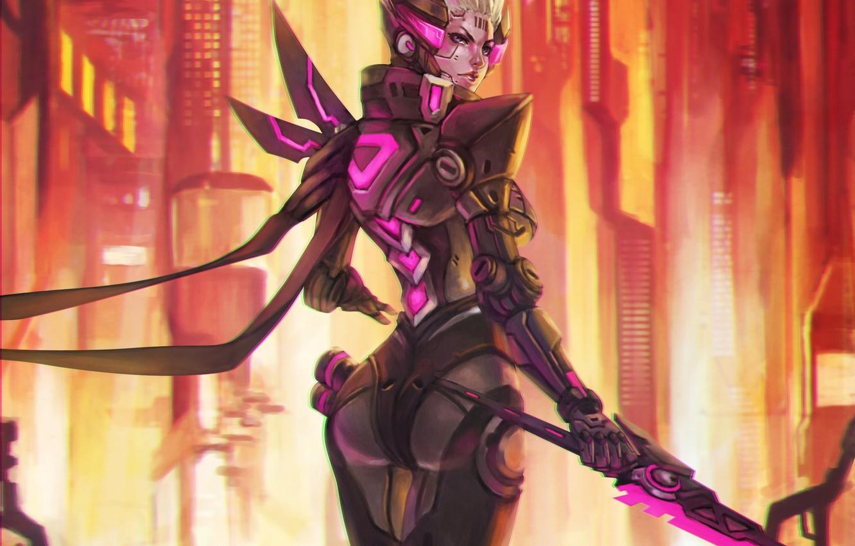 Photo wallpaper girl, fiction, figure, sword, art, girl, sword, armor, cyborg, cyberpunk, the exoskeleton, exoskeleton, megapolis, armor, …