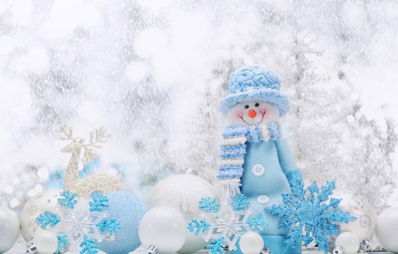 Photo wallpaper Balls, Snowflakes, New year, Holiday, Snowman