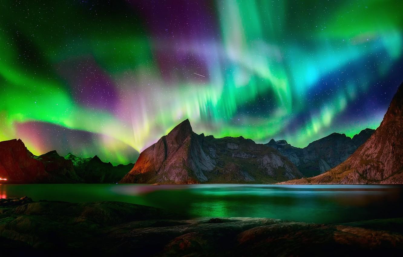 Photo wallpaper stars, light, mountains, night, lights, rocks, Northern lights, North