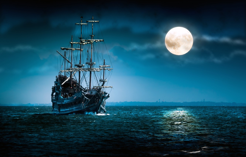 Photo wallpaper sea, clouds, night, ship, the full moon, swimming