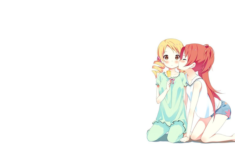 Photo wallpaper girl, love, surprise, kiss, anime, ice cream, loli, Yuri, embarrassment, hyouka