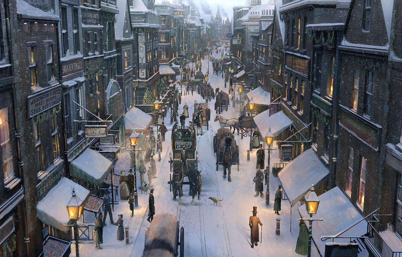 Photo wallpaper winter, snow, the city, people, street, horse, art, lights, carts