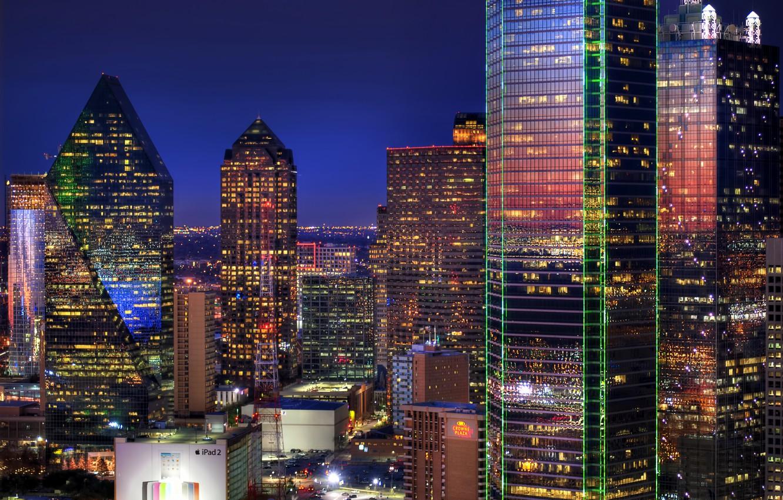 Photo wallpaper lights, building, the evening, skyscrapers, dallas, Dallas