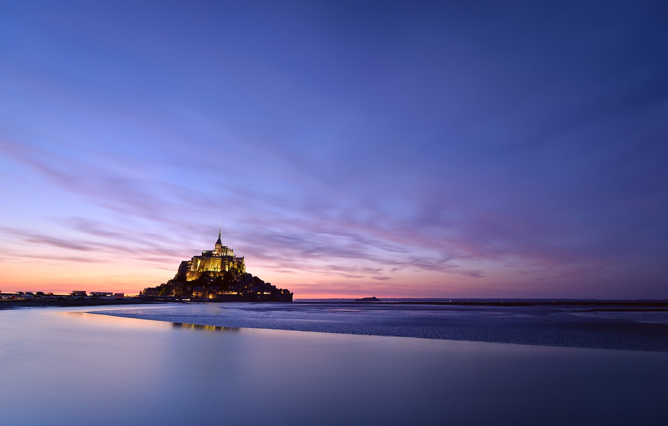 Photo wallpaper the sky, clouds, sunset, lights, castle, France, island, the evening, backlight, fortress, France, island, castle, …