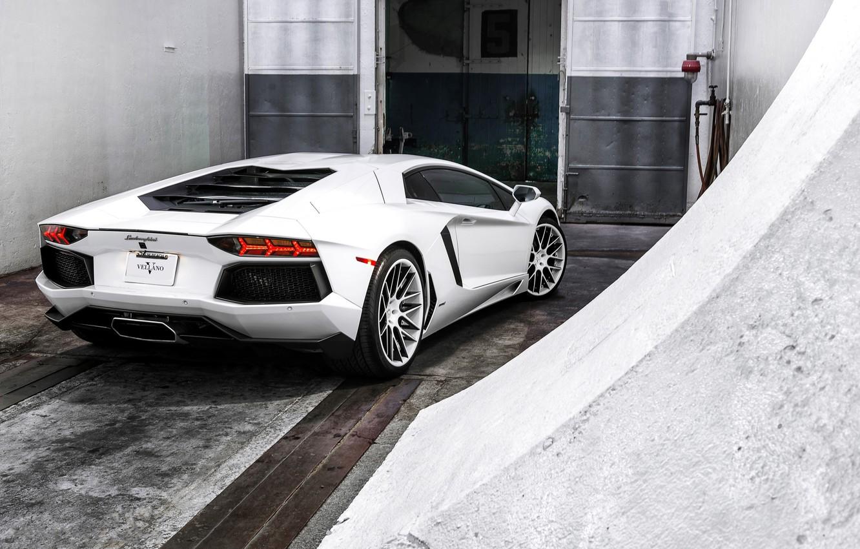 Photo wallpaper white, the door, white, lamborghini, rear view, aventador, lp700-4, Lamborghini, aventador
