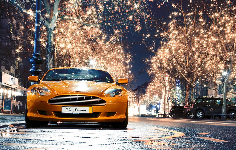 Photo wallpaper night, the city, lights, Aston Martin, DB9, aston martin