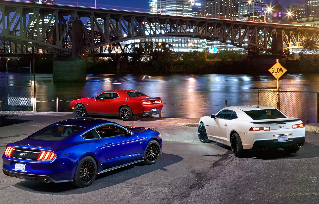 Photo wallpaper Ford Mustang, Dodge Challenger, Chevrolet Camaro, musculary