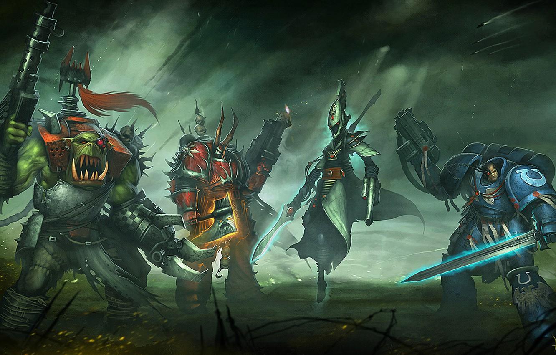 Photo wallpaper Warhammer 40000, chaos, space marine, Warhammer 40k, eldar, space Marines, orc, Eternal Crusade, Long War, …