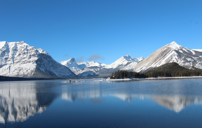 Photo wallpaper winter, the sky, snow, trees, mountains, lake, island