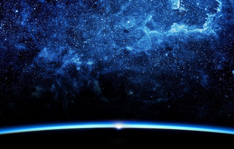 Photo wallpaper space, light, space, sunrise, fiction, darkness, star, planet, horizon, abyss, nebula, shape, the universe, a …