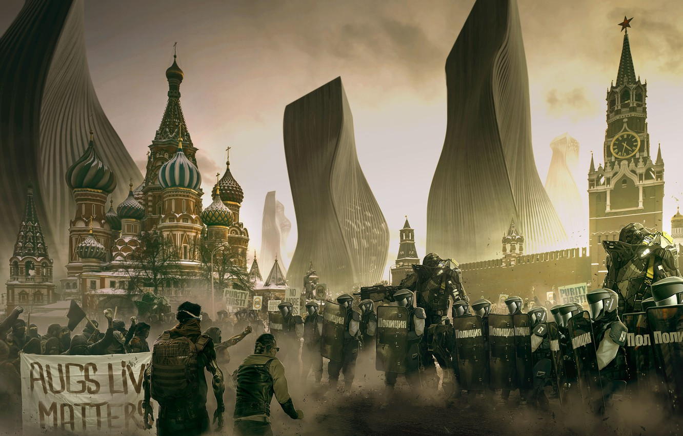 Photo wallpaper the city, people, fiction, Moscow, area, soldiers, the Kremlin, armor, Russia, cyberpunk, art, special forces, …