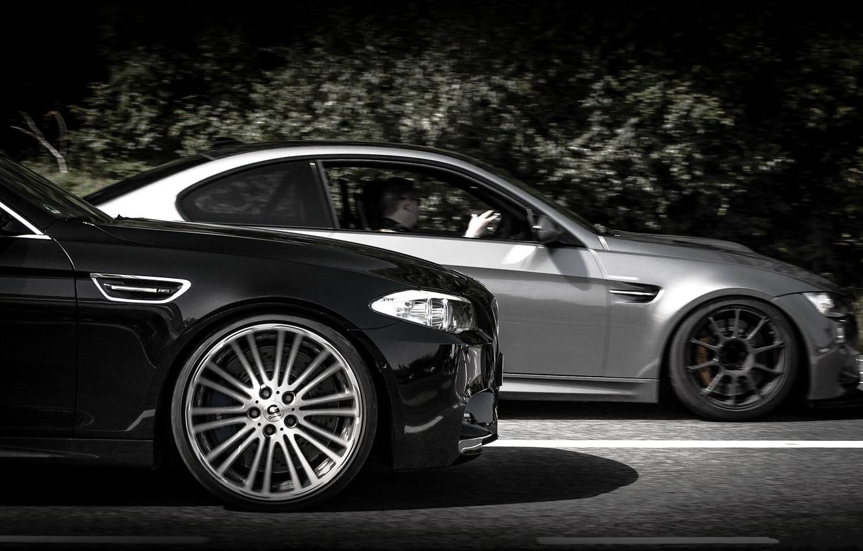 Photo wallpaper road, grey, markup, black, bmw, BMW, black, grey, f10, g-power, e92, GTS