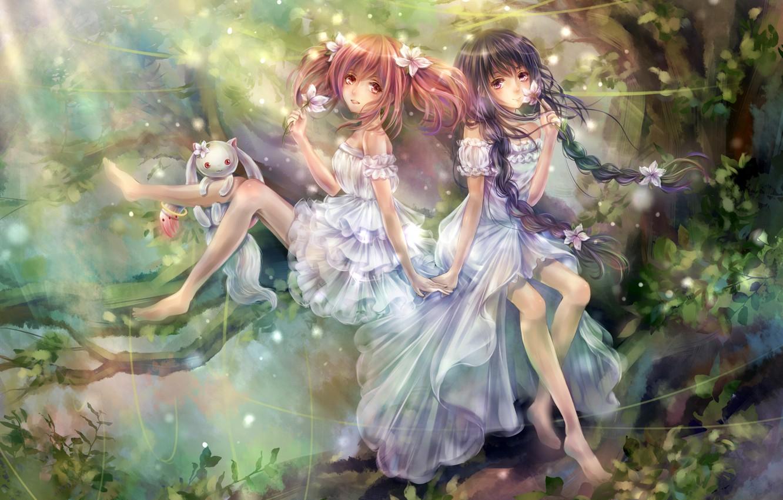 Photo wallpaper forest, flowers, girls, art, animal, mahou shoujo madoka magica, homura akemi, madoka kaname, tandolcedeco, kyuubee