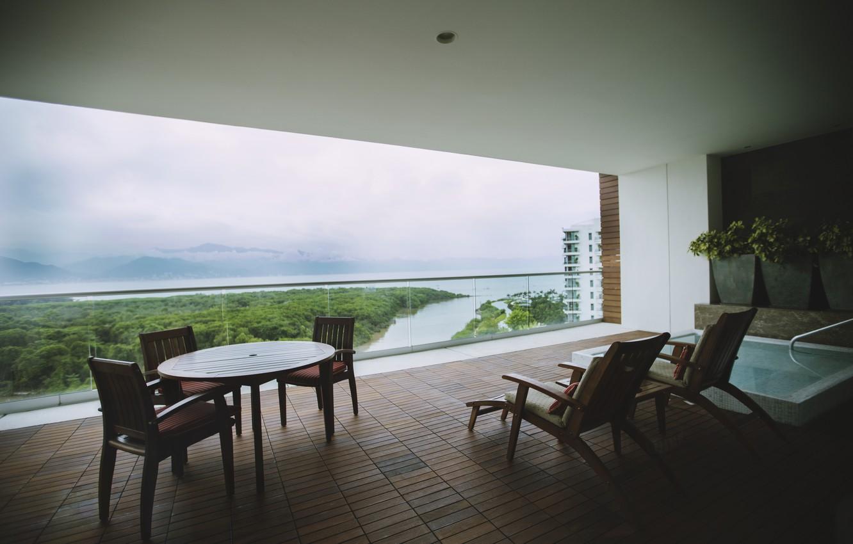 Photo wallpaper trees, river, chairs, balcony