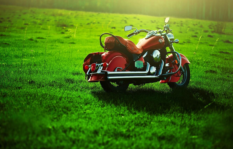 Photo wallpaper greens, Motorcycle, lawn