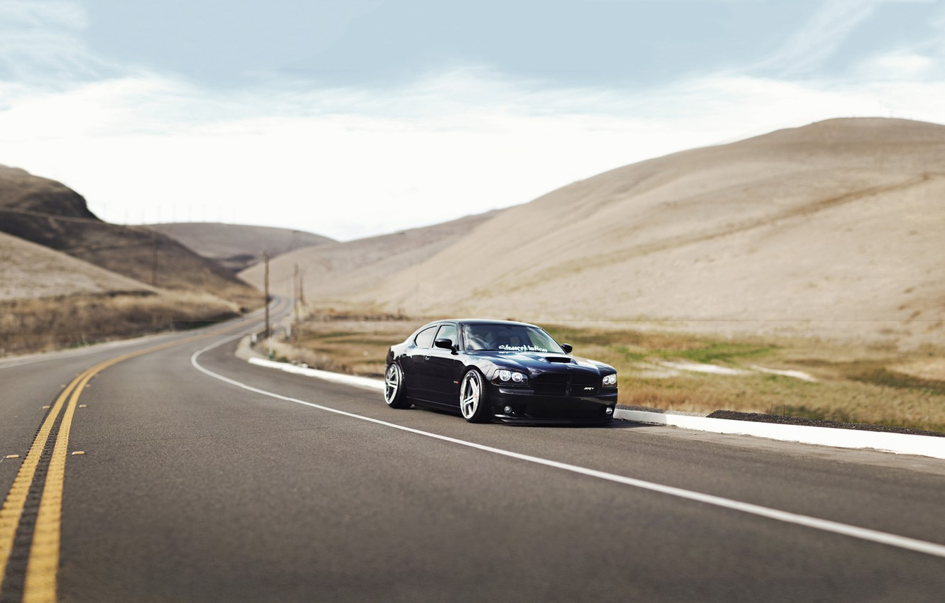 Photo wallpaper Road, Mountains, Grass, Dodge, Black, Charger