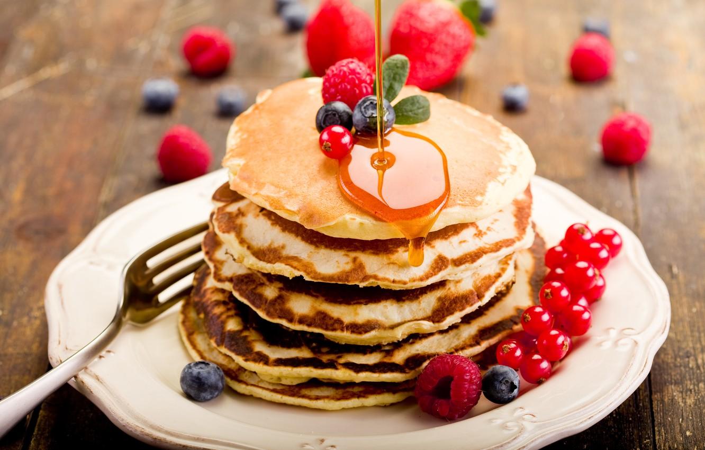 Photo wallpaper berries, raspberry, food, blueberries, honey, plate, pancakes, currants, pancakes, pancakes