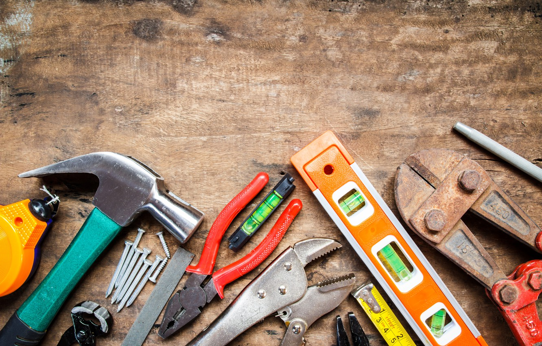 Photo wallpaper wood, tools, workbench