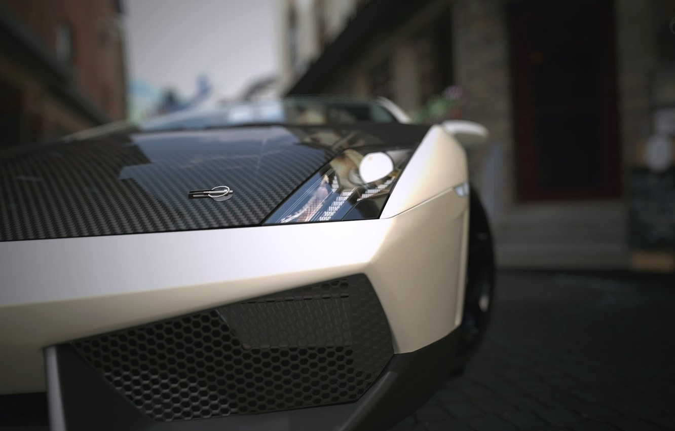 Photo wallpaper tuning, headlight, the hood, white, carbon, lamborghini