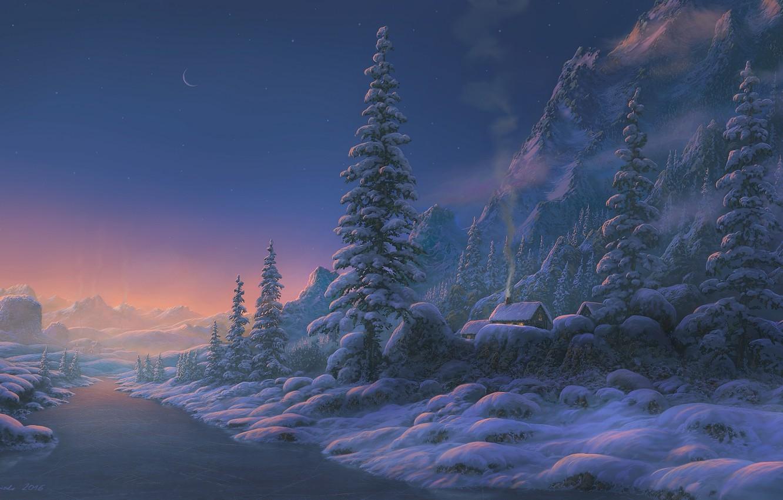 Photo wallpaper winter, snow, sunset, mountains, river, home, the evening, art, Fel-X