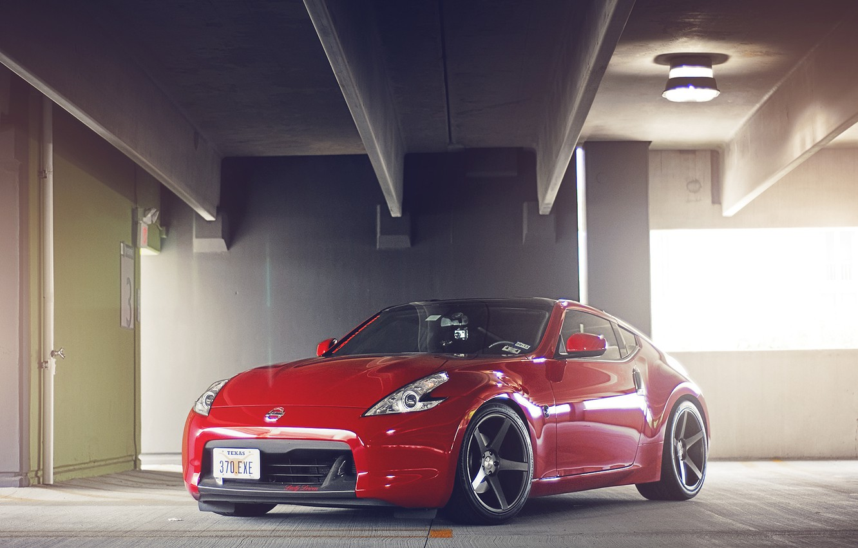 Photo wallpaper red, Nissan, 370z