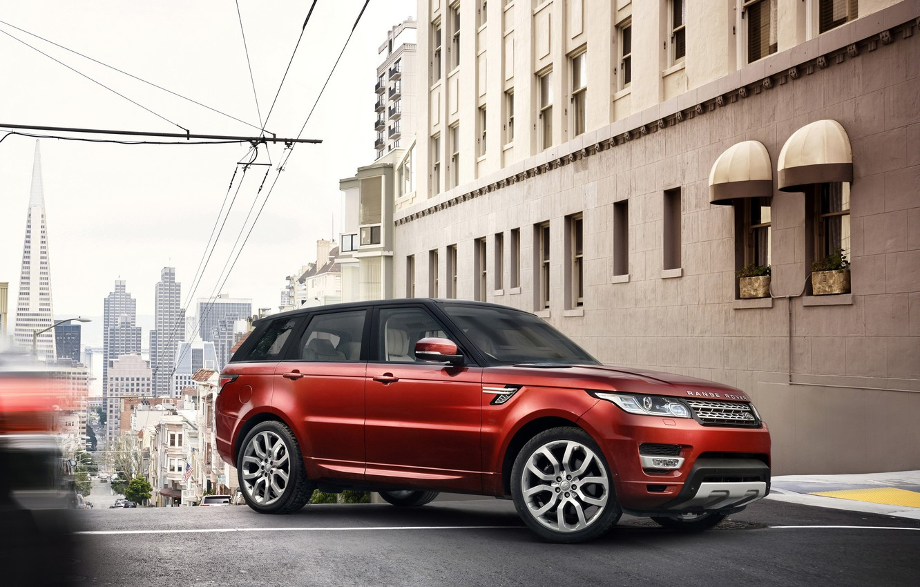 Photo wallpaper red, SUV, Land Rover, Range Rover, the city.